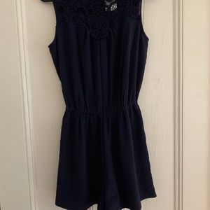 Navy Romper with lace
